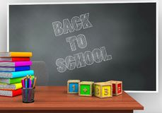 3d desk. 3d illustration of blackboard with back to school text and math cubes Royalty Free Stock Images