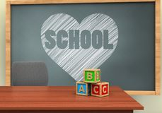 3d desk. 3d illustration of chalkboard with heart and school text and abc cubes Stock Images
