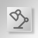 3D Desk Lamp icon Business Concept. 3D Symbol Gray Square Desk Lamp icon Business Concept Royalty Free Stock Photography