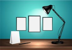 3d desk lamp on wooden table lights up empty posters on a wall. Vector illustration. Copy space for text template. 3d desk lamp on wooden table lights up empty vector illustration
