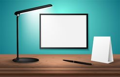 3d desk lamp on wooden table lights up empty posters on a wall. Vector illustration. Copy space for text template. 3d desk lamp on wooden table lights up empty stock illustration