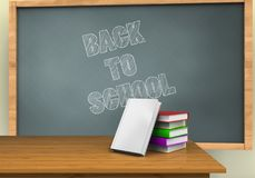 3d desktop. 3d illustration of chalkboard with back to school text and books stack Royalty Free Stock Photo