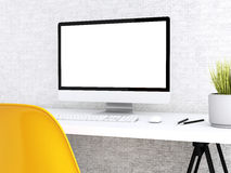 3d Desktop met computer Spot omhoog Stock Foto