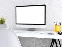 3d Desktop met computer Spot omhoog Royalty-vrije Stock Foto