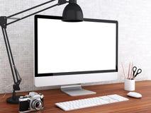 3d Desktop met computer Spot omhoog Stock Foto's