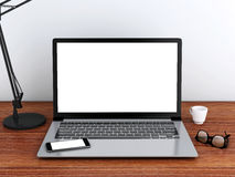 3d Desktop met laptop Spot omhoog Royalty-vrije Stock Foto