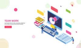 3D Desktop met megafoon en studiemateriaal, miniatuurmensen vector illustratie