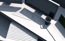 3D Desktop stacja robocza ilustracja wektor
