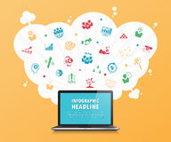 3d desktop timeline infographics with icons set. vector. illustr Royalty Free Stock Photography