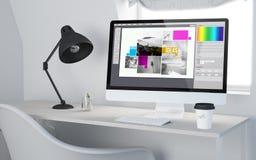 3d desktop workspace odpłaca się graficznego projekt Fotografia Royalty Free