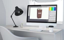 3d desktop workspace rendering pakuje projekt Fotografia Stock