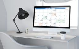 3d Desktopwerkruimte die kalender teruggeven Royalty-vrije Stock Foto