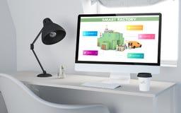3d Desktopwerkruimte die slimme fabriek teruggeven Stock Foto