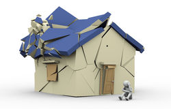 3d destroyed home and sad man. 3d illustration of sad crying person sitting near destroyed hhouse. 3d rendering of human character Stock Photography