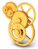 3d detailed golden  metallic gears Royalty Free Stock Image