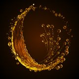 3D detailed illustration of a drop of water gold color. Black background Stock Photo