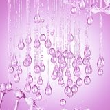 3D detailed illustration of a drop of water pink color. Pink background Stock Photography