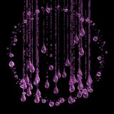 3D detailed illustration of a drop of water pink color. Black background Royalty Free Stock Image