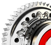 3d detailed metallic gear. On white background Royalty Free Stock Photos