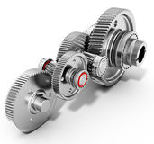 3d detailed metallic gears. On white background Royalty Free Stock Image