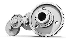 3d detailed metallic gears. On white background Royalty Free Stock Photo