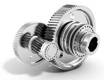 3d detailed metallic gears. On white background Royalty Free Stock Photography