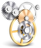 3d detailed metallic gears. On white background Stock Image