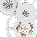 3d detailed metallic gears. On white background Royalty Free Stock Images