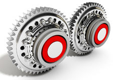 3d detailed metallic gears. On white background Stock Images