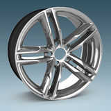 3d detailed wheel rim. On blue background Royalty Free Stock Photos