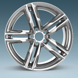 3d detailed wheel rim. On blue background Stock Image