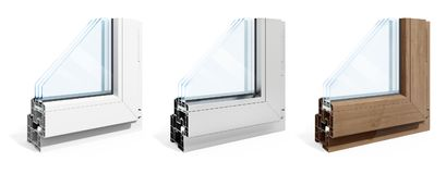 3d detailed window frame profile section. On white background royalty free illustration