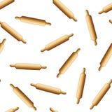 3d detalhado realístico Pin Seamless Pattern Background de rolamento de madeira Vetor Imagem de Stock Royalty Free
