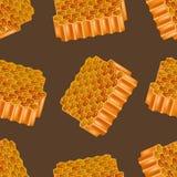3d dettagliato realistico Honey Combs Seamless Pattern Background Vettore Illustrazione di Stock