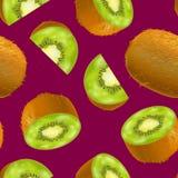 3d dettagliato realistico intero Kiwi Seamless Pattern Background Vettore illustrazione di stock