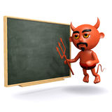3d Devil at the blackboard Royalty Free Stock Photo