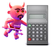 3d Devil with a calculator Stock Image