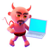 3d Devil computing Royalty Free Stock Photos
