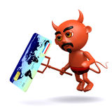3d Devil with a credit card Royalty Free Stock Photos