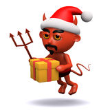 3d Devil gets in the Christmas spirit Royalty Free Stock Images