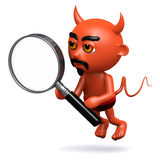 3d Devil with a magnifying glass Stock Image