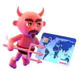 3d Devil pays by credit card Stock Images