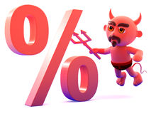 3d Devil percentage Royalty Free Stock Photography