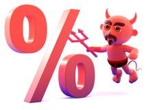3d Devil percentage Royalty Free Stock Photography