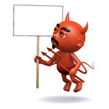 3d Devil with a placard Stock Photos
