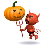 3d Devil with a pumpkin Royalty Free Stock Photo