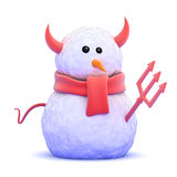 3d Devil snowman Stock Images