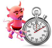 3d Devil with a stopwatch Stock Image
