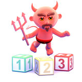 3d Devil teaches math with counting blocks Stock Images