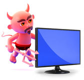 3d Devil television Stock Photography